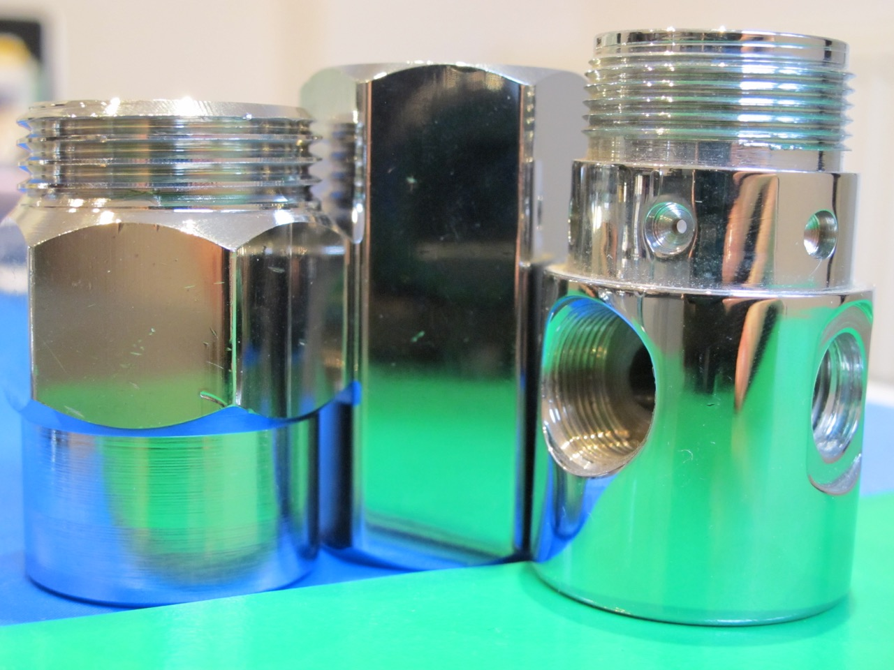 Different types and shapes of nickel electroplated objects